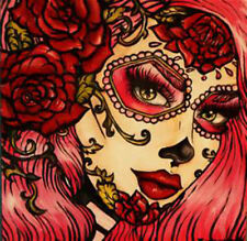 20  WATER SLIDE NAIL ART  DECAL TRANSFER DAY OF THE DEAD GIRL ORANGE   5/8 INCH