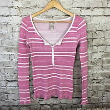 Women's Lucky Brand Pink Thermal Top Shirt Long Sleeve S