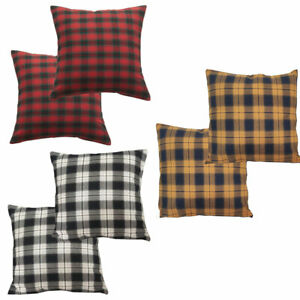 Tartan Check Striped Square Cushion Cover Set Pillow Case Covers 16/18/20 inch