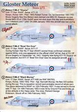 Print Scale Decals 1/72 GLOSTER METEOR British Jet Fighter