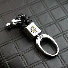 Black BV Style Leather Gift Decoration For CADILLAC Emblem Logo Key Chain Ring