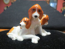 """RARE ROYAL WORCESTER #3132 """"FOX HOUND """" PUPPIES MODELED BY DORIS LINDNER DOGS"""