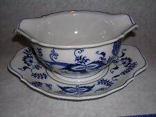 Vintage Blue Danube Blue Onion Gravy with attached underplate Perfect