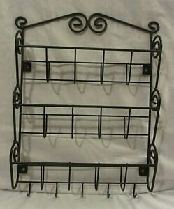BLACK WROUGHT IRON WALL MOUNTED MAIL ORGANIZER and KEY HOOK RACK - Scrollwork