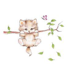 suesse Katze Schmetterling Baum Zweig Wandaufkleber fuer Kinder Zimmer Dekora T6