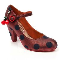 NEW POETIC LICENCE (IRREGULAR CHOICE) *THE RIGHT STRIPES* RED (AG) HEELS