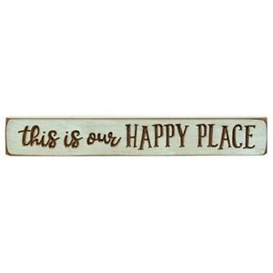 This is our Happy Place ~Carved Inspirational Country Block Sign Distressed