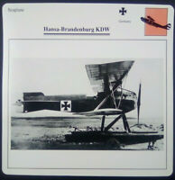Seaplane Hansa-Brandenburg KDW Military Airplane Photo Card w Specifications