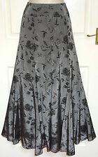 PER UNA Long Grey Black Dressy Fit & Flare Evening Gypsy Boho Maxi Skirt Size 14
