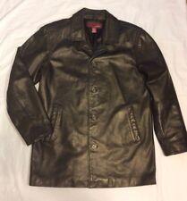 Mens MERONA Black 100% Genuine Leather Coat Button Front Size Med Pakistan EUC