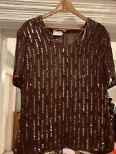 FRANK USHER VINtage Silk BROWN Sequins And Beading SHORT SLEEVE TOP 16