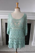 PRETTY ANGEL NWT Light Mint Green Open Crochet Lace Tunic Sexy Edwardian TOP S