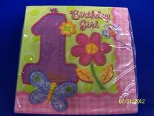Hugs & Stitches Girl Pink First 1st Birthday Party Paper Beverage Napkins