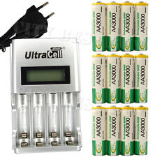 12 AA 2A 3000mAh Ni-MH 1.2V Volt Rechargeable Battery EU LCD Charger Green BTY
