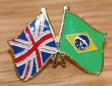 UK & BRAZIL Brasil FRIENDSHIP Flag Metal Lapel Pin Badge Great Britain
