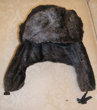 BNWT UNISEX MENS LADIES NAVY BLUE GREY FAUX FUR RUSSIAN COSSACK TRAPPER HAT
