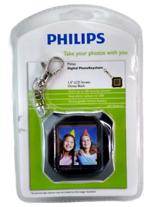 """Phillips Digital Photo Keychain 1.5"""" LCD 8 MB Rechargeable Glossy Black NEW"""