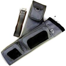 ARCHERY LEATHER SIDE/HIP BELT ARROW QUIVER AQ122 BLACK R/H