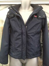 Ladies Hollister All Weather Jacket Fleece Hooded Coat Small Abercrombie Navy