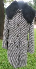 Nine West Vintage Inspired Coat with Black Faux Fur Shawl Collar