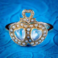 ANTIQUE VICTORIAN MOONSTONE PEARL DOUBLE LOVERS HEART RING 9CT GOLD