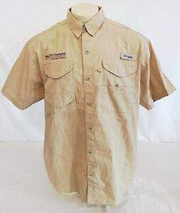 NWOT Columbia PFG Short Sleeve Vented Fishing Gear Shirt Mens Large Khaki NALCO