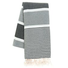 Beach Towel - Hammam Towel (Peshtemal) 100% Turkish Cotton X Large Grey&Black