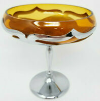 Vintage Farber Bros Art Deco Stem Amber Cambridge Glass Compote Candy Dish