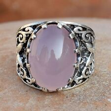 Pink Chalcedony Gemstone 925 Sterling Silver Ring Ethnic Jewelry VSS9