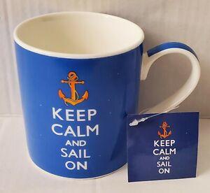 Kent Pottery Keep Calm and Sail On Blue Coffee Mug Tea Cup Gift Tag New!