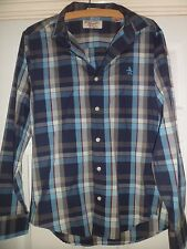 Mens Original Penguin Blue Check Cotton Shirt Size Small