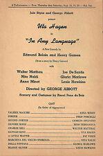 """Uta Hagen """"IN ANY LANGUAGE"""" Walter Matthau 1952 FLOP New Haven Tryout Program"""