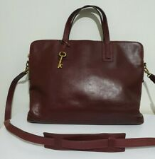 Fossil large burgundy leather laptop bag