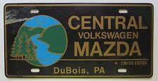DuBois, Pennsylvania 1980's CENTRAL VOLKSWAGEN MAZDA DEALERSHIP BOOSTER Plate
