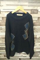 NATURAL ROAD MENS 90'S GEOMETRIC NEW WOOL WINTER KNIT COSBY PULLOVER JUMPER M/L