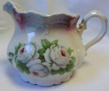 Creamer made in Leuchtenburg Germany, White Roses, Irridescent Top