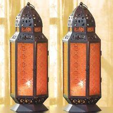 Set 2 Tall amber Glass Lantern Candleholder Wedding Centerpieces Set