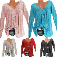 Summer Womens Floral Blouse V Neck Tops Ladies Long Sleeve T-Shirts Plus Size