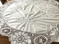 """Vintage Hand Embroidered White Cotton RAISED BUTTERFLIES Circular Tablecloth 48"""""""