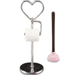 Dollhouse Heart Toilet Paper Stand Seet 1.722/6 Reutter Plunger Filled Miniature