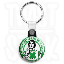 Die Green Cross Code - 25mm Retro Kinder Schlüsselanhänger Button Abzeichen mit Zip Pull Option