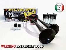 New SUPER LOUD MEGA BLAST 145DB DUAL BLACK TRAIN HORNS COMPRESSORS KIT SET
