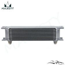"10 Row 8AN Universal Engine Transmission Oil Cooler 3/4""UNF16 AN-8 Silver"