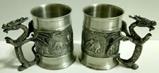 Pair of Tpw Pewter Dragon Handle Tankard Mugs with elephants Tin 97%