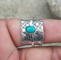Turquoise Solid 925 Sterling Silver Spinner Meditation Statement Ring Size M403