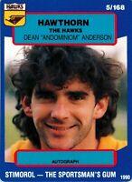 ✺New✺ 1990 HAWTHORN HAWKS AFL Card DEAN ANDERSON Scanlens