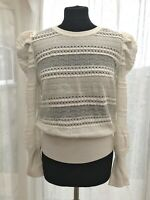 Next 14 lace knit puff shoulder jumper neck button cream spring Bnwt Rrp £32