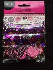 80th Birthday Confetti Table Decoration Sprinkle Black Pink Purple Age 80 Party