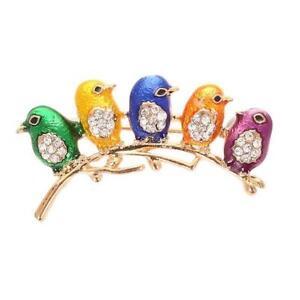 5 Little Enamel Birds on a Branch Brooch Pin New Great Gift