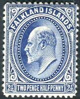 FALKLAND ISLANDS-1912 2½d Deep Blue.  A lightly mounted mint example Sg 46b